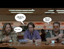 In photo: The Dude, Donnie and Walter, The Big Lebowski (1998)