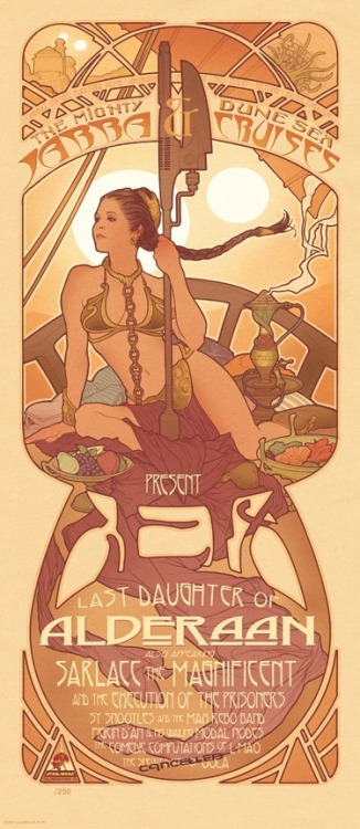 Art noveau Princess Leia by Adam Hughes.  Click the image to visit his Deviant Art gallery. Via GeekGirlDiva