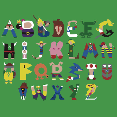 svalts:  Gamer's Alphabet - by Jimmy Thomason Facebook || Redbubble T-Shirt available HERE (Via: insanelygaming || it8bit)
