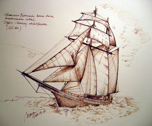 nebulosaplanetaria:  Pirate ship sketch with brown ink (by picturesofmaya)