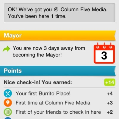 @nickmiede categorized our new office address for us on foursquare, thinking of offering food deals (Taken with Instagram at Column Five Media)