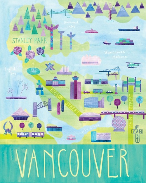 "Illustrated Vancouver Map, 24"" x 30"", digital print of an illustration by Marisa Midori aka Marisa Seguin, originally from Vancouver, now in Milwaukee, Wisconsin, part of her Here & There series as seen on etsy."