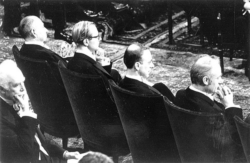 John Steinbeck, Maurice Wilkins, James D. Watson and Francis Crick at the 1962 Nobel Prize Ceremony