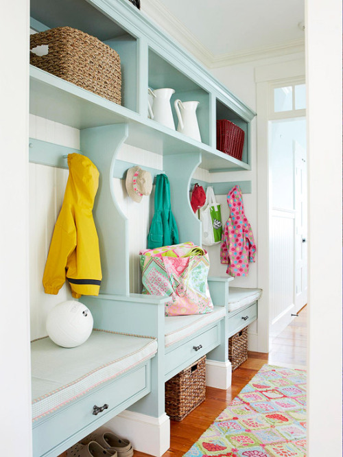 From Better Homes & Gardens I'm such a sucker for a great mudroom picture.  I've been thinking about mudrooms lately - particularly locker configurations.  I don't usually scour Better Homes & Gardens, but I was delighted to find a treasure trove of mudroom pictures!  Not every room is decorated or styled in my taste, but there are oodles of great ideas for storage, configurations, and layout - from great big built-ins to small-space solutions.  Enjoy!