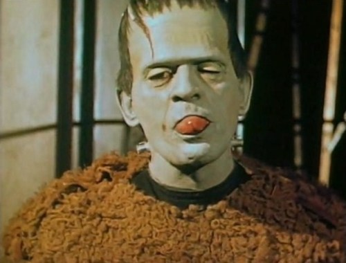 universal-horror:Boris Karloff goofing off during the production of Son of Frankenstein (1939)The still is taken from a color 16mm Kodachrome home movie and shows that the monster