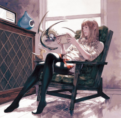 Cover for a Square-Enix vinyl music record called 'SQ TRAX.' Art by Akihiko Yoshida.