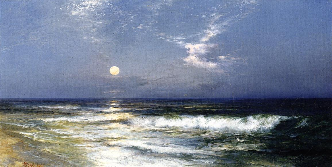 Thomas Moran, Moonlit Seascape. 1891. Oil on canvas, 69.215 x 35.56 cm. Thank you, bellswithin