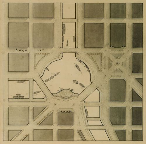 archimaps:  Intersection of the Three Branches of the Chicago River, Burnham's Plan of Chicago, 1909