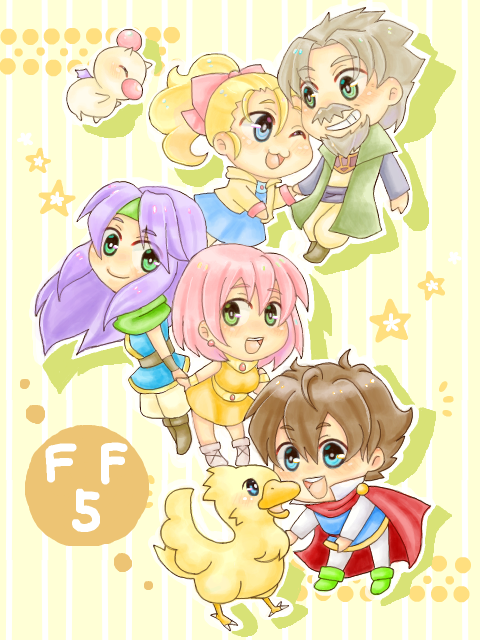 [Picture: Bartz, Faris, Lenna, Galuf, Krile, and Boko from FF5 and a Moogle. They are all smiling happily as they hold hands. Galuf and Krile hold hands, Lenna and Faris hold hands and Bartz looks like he is about hug Boko.] guys, this is so much cuteness, I may actually explode - Lobster