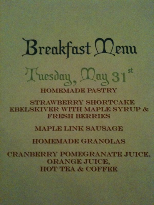 Today's full breakfast menu at Scarborough Fair Bed & Breakfast.