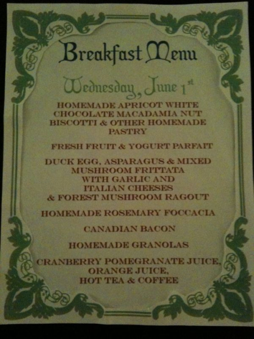Tomorrow's breakfast menu at Scarborough Fair Bed & Breakfast.