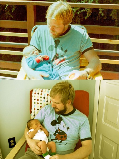 transmann:   My dad at 29, me at 2 weeks. Me at 29, my boy at 2 weeks.   this has got to be the best thing i have seen on tumblr so far, i love this way too much.    I need that shirt.