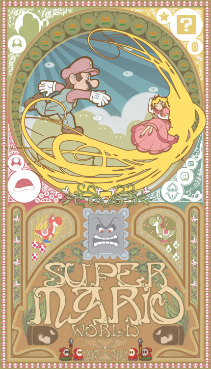 insanelygaming:  koldunkisloty: Super Mario Nouveau // By: NoxIllunis971 (via koldunkisloty)  —- I know some people find art nouveau renderings of video games to be overdone, but I just don't see how you COULD get tired of two awesome things TOGETHER - especially when the end result is as awesome as this!