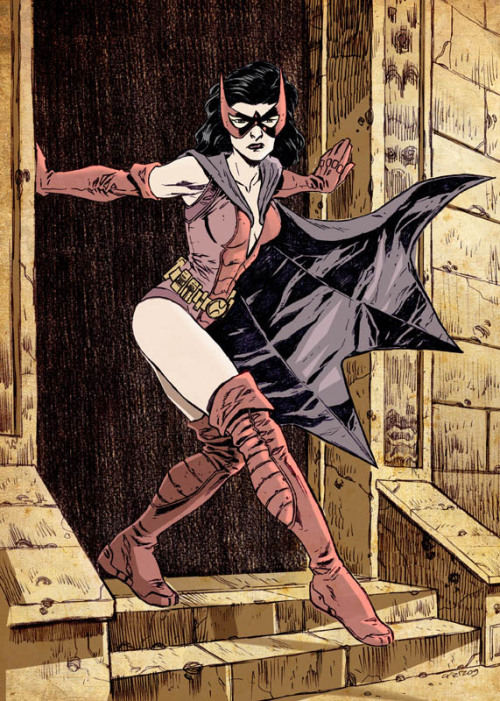 spandexandsportsbras:  Huntress, she always looks so cross! :)  dis art hyng