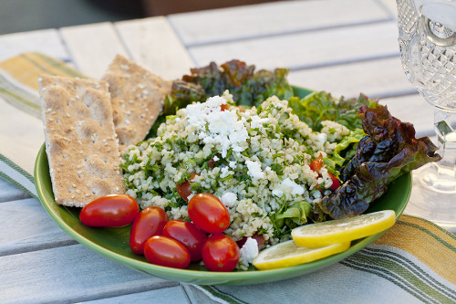 boyfriendreplacement:  Tabbouli, packed with parsley and lemon is an easy, light, vegetarian dish perfect for an entree or side. Recipe