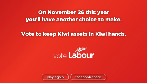 "New Zealand Political Parties Use Games to CampaignAs the November general election approaches, New Zealand's Labour Party and Green Party have incorporated computer games into their campaigns to more effectively communicate their platforms to young voters. Green MP Gareth Hughes launched a Private Member's Bill along with a new game designed to raise awareness of the lignite coal mining issue in New Zealand. Accurately titled, Keep the Coal in the Hole, the game is essentially Tetris with a different skin. Instead of attempting to clear brightly colored blocks, the player must clear blocks of coal to, you guessed it, keep all of the coal in the hole. The Labour Party game is a little more abstract. Players are presented with two choices and then asked to respond to the options. Some of the choices are ""getting busy"" with Princess Leia or watching Labour MP Trevor Mallard and National MP Tau Henare slug it out. However, the alternative choice is ""Let's not"". All options eventually lead to a question about state-owned assets and a warning that voters have another choice to make - on November 26.  While these aren't the most exciting or innovative computer games out there, it is interesting to see politicians utilizing video games to appeal to constituents. Yet the question still remains, are these games actually advancing a lively political debate? Or are they the equivalent of a polarizing campaign ad?(via: BitThirsty) [Thanks, mnkysuit!]"