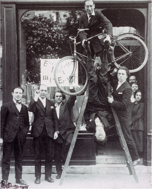 Surrealists at the opening of the Max Ernst exhibition, Paris, May - June 1921.