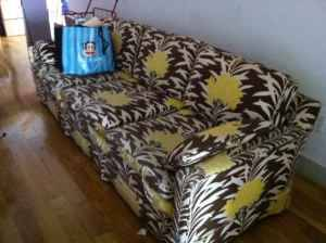 vintage couch, $150, bushwick.  dimensions unspecified.  ad discloses some wear on edges of seat cushions.  hopefully fixable, as pattern and lines/profile on this piece are great. likely circa 1970s-1980s.  has a real palm springs feel to it.  buy now! (link expired)