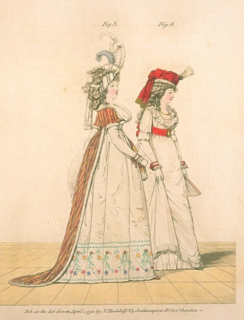 Gallery of Fashion, figures 3 and 4.  April 1794.  STRIPES!