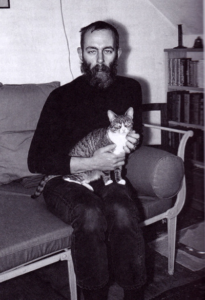 writersandkitties:  Edward Gorey and kitty, both young and thin before the heaviness of success.