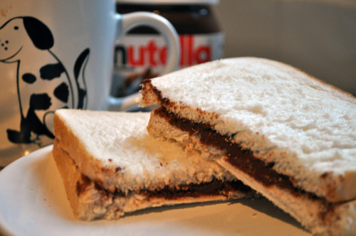 Supper.  Cup of tea with a nutella sandwich.