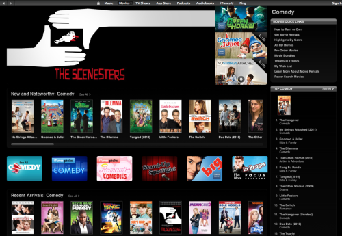 jeffgrace:  The Scenesters is one of iTunes top picks for comedy feature films today.  Take that Seth Rogen, Ashton Kutcher and, um, Gnomeo!