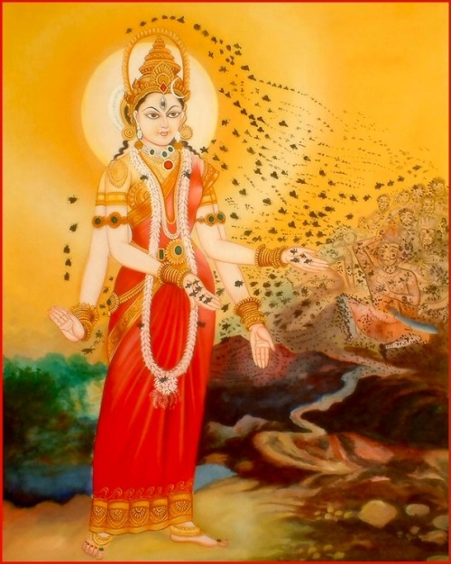 "Bhramari Devi - Hindu Goddess Of Black Bees ""The Indian Bee goddess Bhramari Devi derives her  name from the word Bramari, meaning 'Bees' in Hindi.  It is  said that Bhramari Devi resides inside the heart chakra and emits the  buzzing sound of Bees, called 'Bhramaran'. Likewise, the sound of a Bee  humming was emulated in Vedic chants and the humming of Bees represented  the essential sound of the universe all across India."""