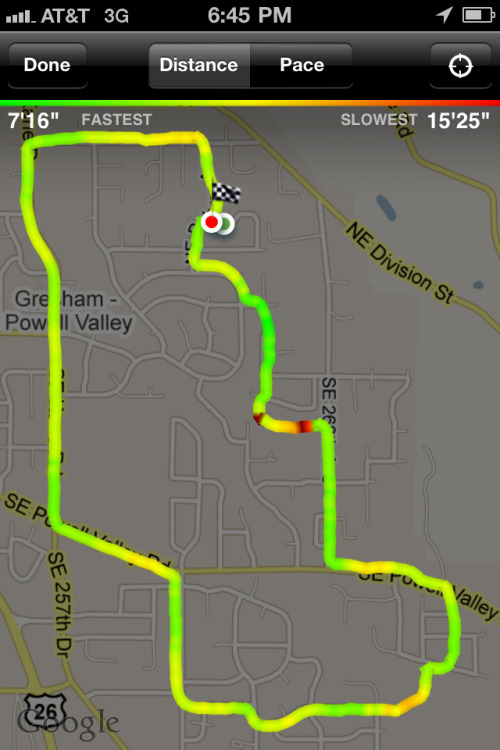 Nike+ iPhone app - The color coding of pace on the map is calibrated to the actual fastest and slowest pace ran. /via David
