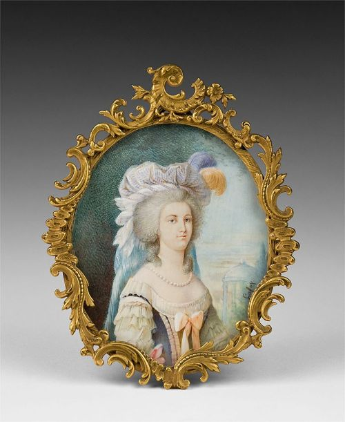 vivelareine:  Mid 19th century portrait of Marie Antoinette, signed Lafoy. I particularly like this one because it shows more of a Hapsburg lip (which Marie Antoinette was said to have) rather than trying to flatter her face by hiding it.