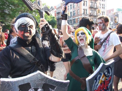 Me and my boyfriend at Spring Zombie Crawl NYC 2011. Link and Dark Link. Yes, I'm very proud of that sweat spot. It was 80°F that day and I was wearing three layers. © Chris Smith