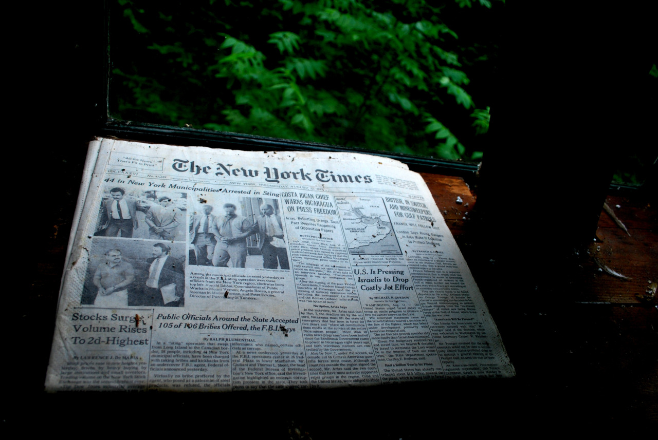 Surge Volume Rises. A New York Times, left behind in the Fables' cabin on Wednesday, August 12, 1987. Photo taken 8,400 issues later: 6/25/2010
