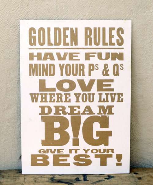 Some Golden Life Rules {via etsy}
