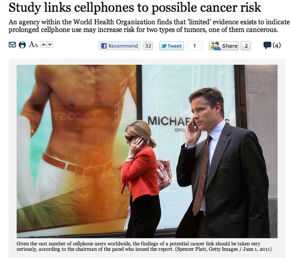 Bag's Take-Away: Media links cellphone use, cancer to sexy advertising. (via LAT)  ————— Follow us: BagNewsNotes. BAG Twitter. BAG Facebook.
