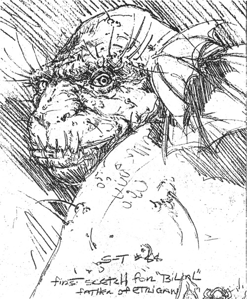 Rare art of the day: First sketch of Bilial, father of Etrigan the Demon, by Michael Zulli (done in preparation of the unpublished Swamp Thing #88), 1989.
