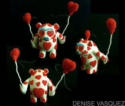 "Glow In The Dark ""Glowing LOVE Yoka"" by Artist Denise Vasquez for the DKE Toys/Adfunture Custom Yoka Show & Tour *SOLD*"