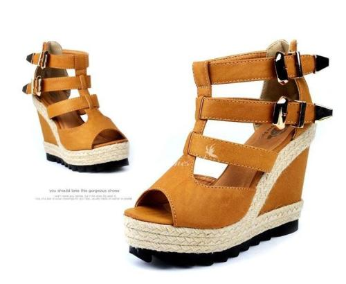 tumblr lm3txdO6KP1qb947eo1 500 chic looking tan wedges with strappy buckle details, and woven...