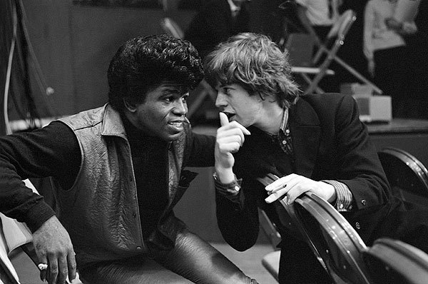 awesomepeoplehangingouttogether:  James Brown and Mick Jagger, 1964. Photo by Bob Bonis.