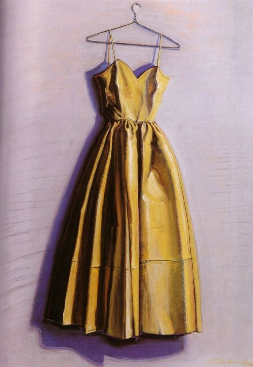 aclockworkorange:  Wayne Thiebaud, Yellow Dress, 1974
