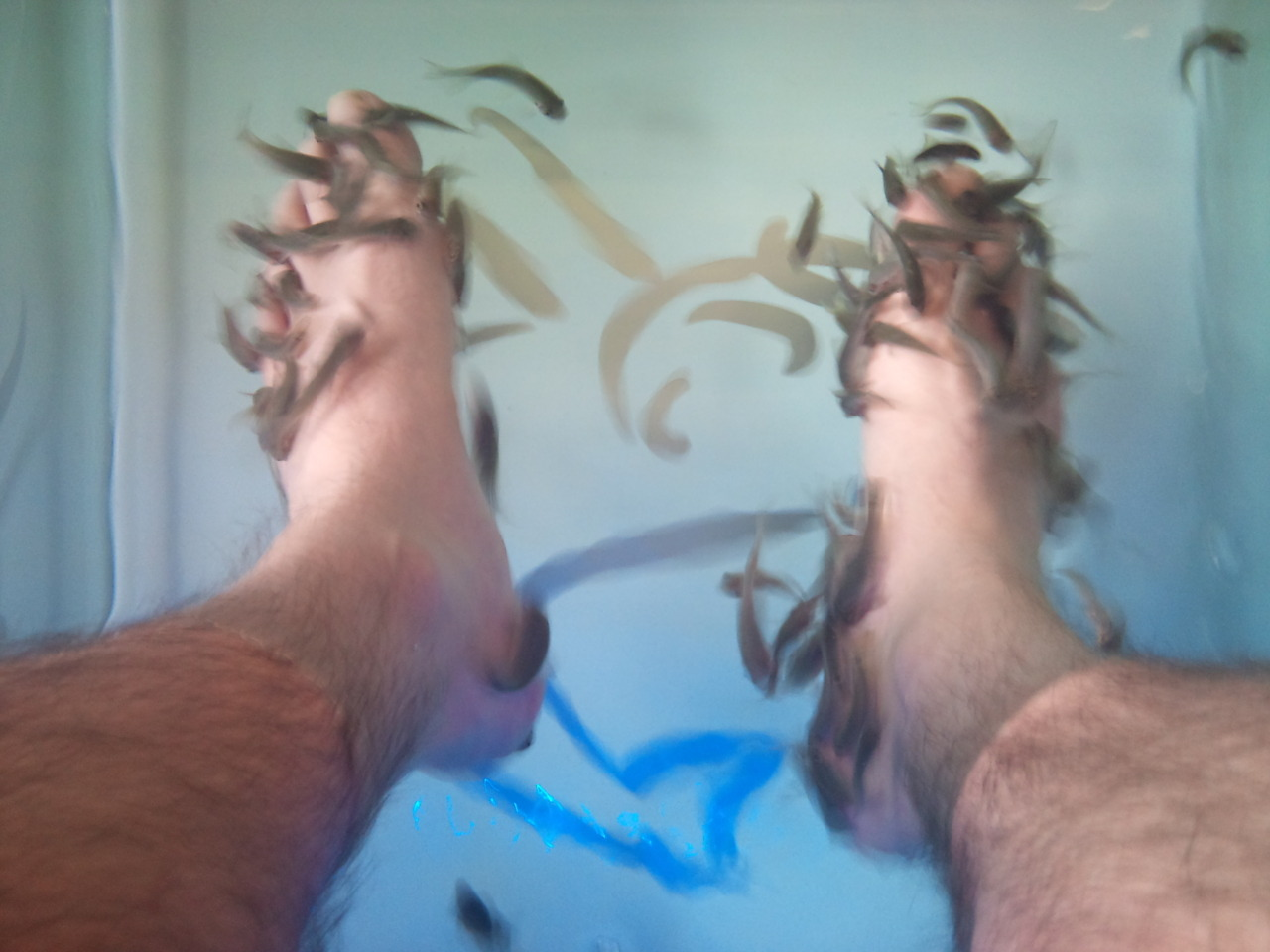Getting my feet done. It's a bit fishy to be honest.