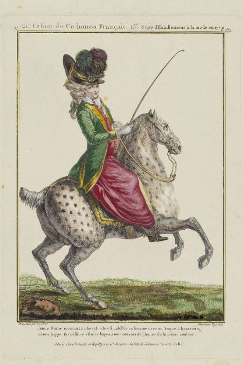 "Gallerie des Modes, 1779.  ""Jeune Dame montant a cheval."" Ha!  That horse is tiny!  And note!  Not riding side-saddle and she's wearing boots!"
