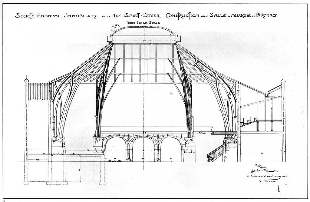 Guimard's cross-section for a concert hall on rue Saint-Didier, 1897-1901 (demolished 1905), Paris