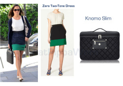 "Pippa once again opted for Zara, the ""Two Tone Dress"" with elasticized waist (hmmmm) and a Knomom laptop Case, the ""slim"" model."