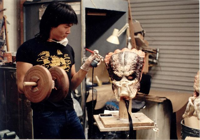 juliasegal:  Steve Wang working out while working on the original Predator mask.