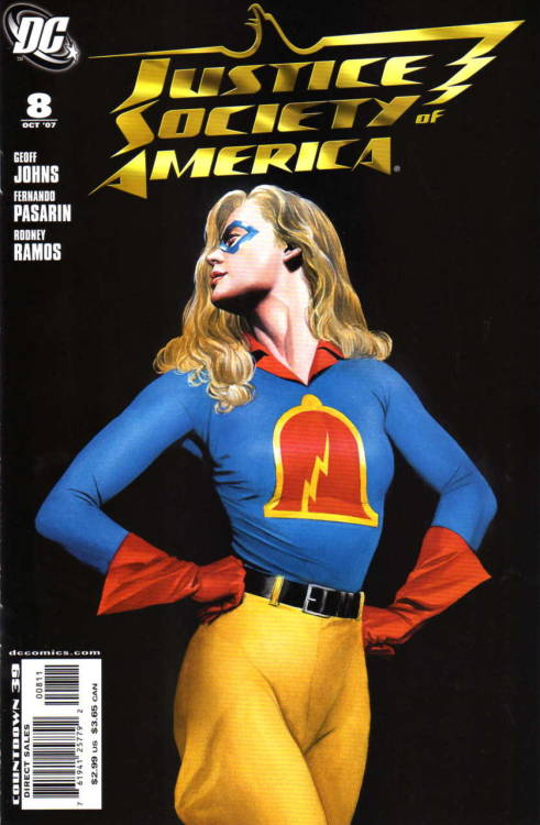 evilhorse:  Justice Society of America (Volume 2) #8, October 2007.  Cover by Alex Ross.  I like Jesse better as Liberty Belle.  Maybe it's the All-Star Squadron fan in me.