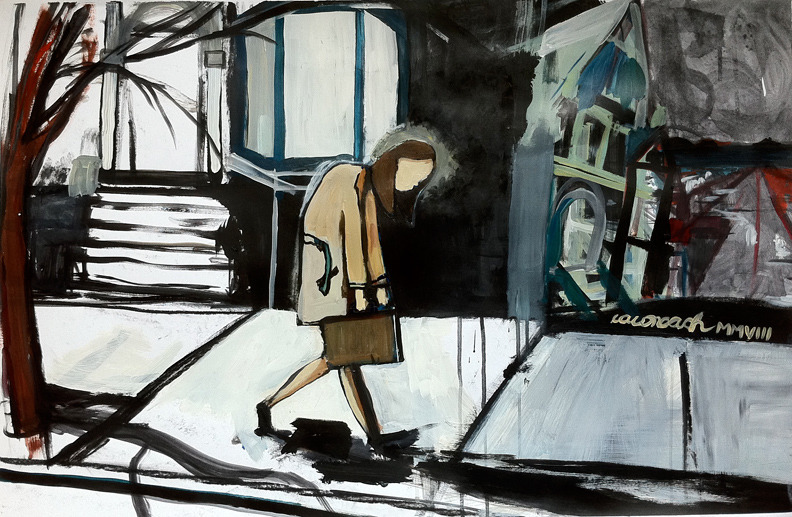 Commute, 2008 acrylic on 101cm x 61cm 75lb paper This is a fairly common sight on my commutes.
