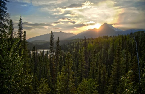 First attempt at HDR. Looking west over Long Lake in Wrangell-St. Elias.