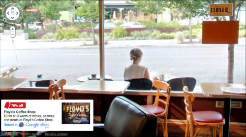 Screen shot from an indoors Google Street View.