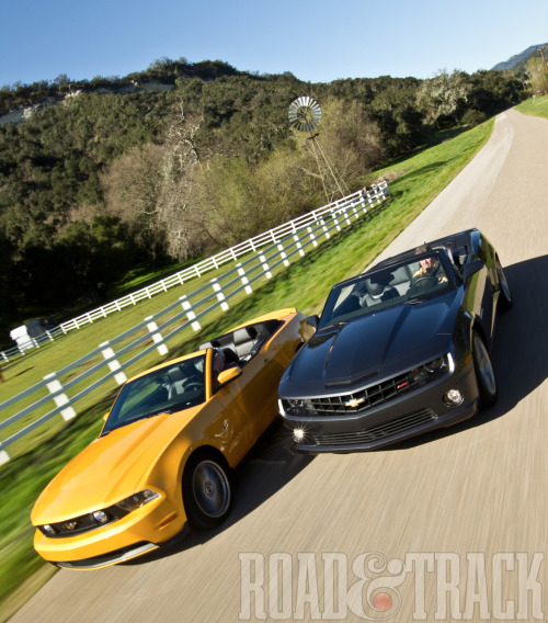 "Fighting words? ""The Mustang is far more mainstream, a car that appeals to somebody who just wants to buy a convertible, but the Camaro somehow suggests the owner is committed to high-performance driving."""