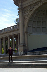 "While wandering through the Music Concourse in Golden Gate Park this holiday weekend, I came upon a guy orating eloquently into the air. There was no sign or hat for donations; he just continued with his detailed monologue, as some people stopped to listen and others just passed by. He was dressed in clothes befitting the formal, archaic tone of his speech. After using my phone to look up some of the key words and phrases he was using, I discovered he was reciting (and enacting) the entirety of Edgar Allen Poe's ""The Cask of Amontillado,"" from memory."