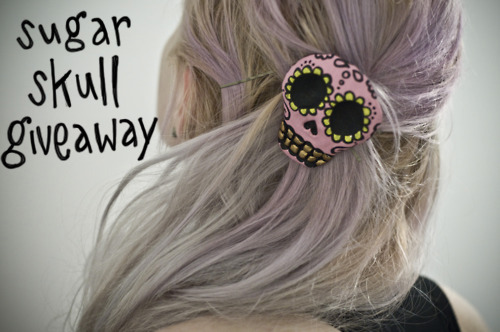 charlavail:  Giving away one of my handmade sugar skull hair clips. Reblog once and follow. Winner will be chosen at random on June 8th.